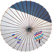 Vintage 1940's Japan Bamboo and Paper Umbrella with Painted Lanterns