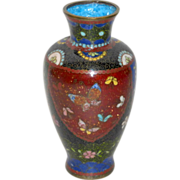 "Antique 19th Century Japanese 5"" tall Cloisonne Vase Sparkle Red Green Blue"
