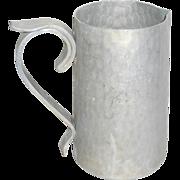 """Vintage 1950's Buenilum Hammered Aluminum Modernist 7 3/4"""" Water Pitcher"""