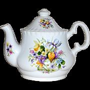 Vintage Floral Bouquet Teapot Crown B Burslem Stoke in Trent England