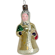 "Vintage 1930's Glass Figural Xmas Tree Ornament 4"" Woman with Tree & Basket"