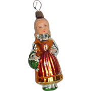 "Vintage 1930's Blown Glass Figural Xmas Tree Ornament 4 1/2"" Girl with Basket"
