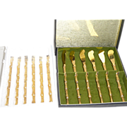 "Vintage MIB Gold Plated Canape / Hors D'oeuvres 5"" Knives & Forks"