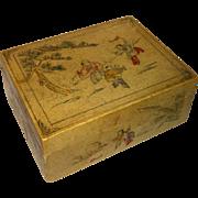 "Antique 4 1/2"" Chinese Scrimshaw on Polished Sandstone ~ Covered Trinket Box"
