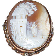 "Vintage 1920's Rebecca at the Well 1 3/4"" Carved Shell Cameo Brooch"