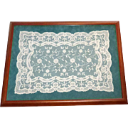 Circa 1920's Hand Made Normandy Lace Vanity Doily Under Glass In Wood Frame
