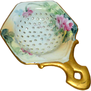 """1900's 6"""" Tea Strainer Hand Painted Porcelain Green & Gold with Roses"""