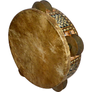 """Vintage Middle East 8"""" Goat Skin Hand Drum Tambourine Wood Inlaid MOP"""