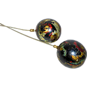 "Pair of Antique Edwardian 9"" Long Hat Pins with Painted Gilded Ball Tops"