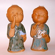 "Vintage 10"" Japanese Boy and Girl Festival Dolls Pottery Sculpture Figurines"