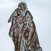 Antique Altar Detail Escaping Sodom & Gomorrah Metal Relief Sculpture