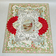 "Antique Victorian 11"" Silver + Red Paper Lace Valentine Card / Envelope + Stamps"