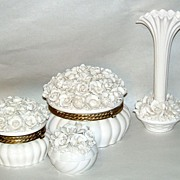 Vintage 1950's Japan White Porcelain Roses 6 pc.Vanity Set Powder Box & Vase