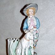 Vintage ANDREA by SADEK figurine Boy & Dog Plant - Pencil Holder
