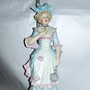 "Vintage 1930's 25"" Bisque Porcelain Pretty French Parlor Maid Table Lamp"