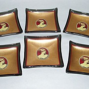 """6 Rare Vintage Gold Cameos on Black Glass 2"""" square Butter Pats"""