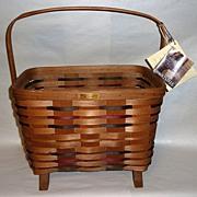 Basket of Woven Oak signed BASKETVILLE 1997 EDITION Tags 561/1000