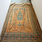 Antique 7.5' Persian Qalam Kar Hand Stamped Hanging Prayer Niche Textile