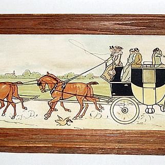 """Antique 1903 William Hertford Framed 13"""" Lithograph Coach and Horses"""