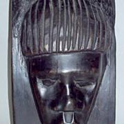 "Vintage 1960's Africa Ebony Wood 11"" Primitive Male Head Sculpture"