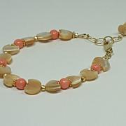 SOLD Natural Mother of Pearl (MOP), Coral, Adjustable Gold-Fill Bracelet