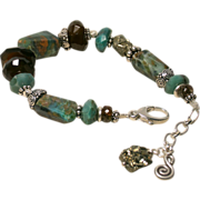 Peruvian Opal, Chalcedony, Chrysocolla, Pyrite, Andalusite Sterling Bracelet