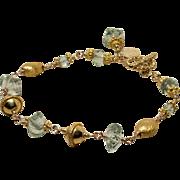 Green Amethyst (Prasiolite), Vermeil, Gold-Fill Hand Linked Toggle Bracelet