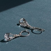 SOLD 'Outburst'~Concave Pear Cut Rock Crystal Quartz Sterling Earrings