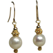 SOLD White Cultured Freshwater Pearl, Nearly Round, 14kt Gold-Fill Drop Earrings