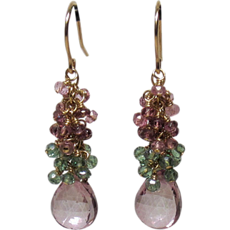 Lilac Pink Mystic Quartz, Spinel, 14k Gold-Fill Cluster Earrings