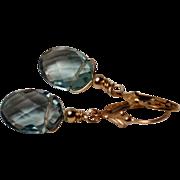 SOLD Teal Blue Fluorite Oval Briolette Gold-Fill Drop Earrings