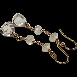 Rock Crystal Quartz Rainbow Moonstone Gold-Fill Dangle Earrings