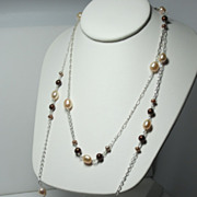 SOLD Multi~Cultured Freshwater Pearls~Long Sterling Silver Chain Necklace