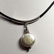SOLD Cultured Freshwater Pearl Pendant Sterling Silver Leather Necklace