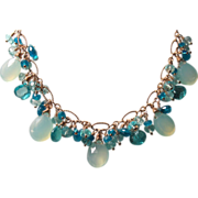 Gemstone Cluster Necklace, Apatite, Chalcedony, Topaz, Gold-Fill Chain Necklace