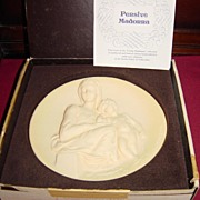 Pensive Madonna Ivory Alabaster Limited Edition Collector Plate