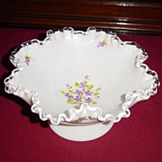 SOLD Fenton Violets in the Snow Low Footed Silver Crest Comport