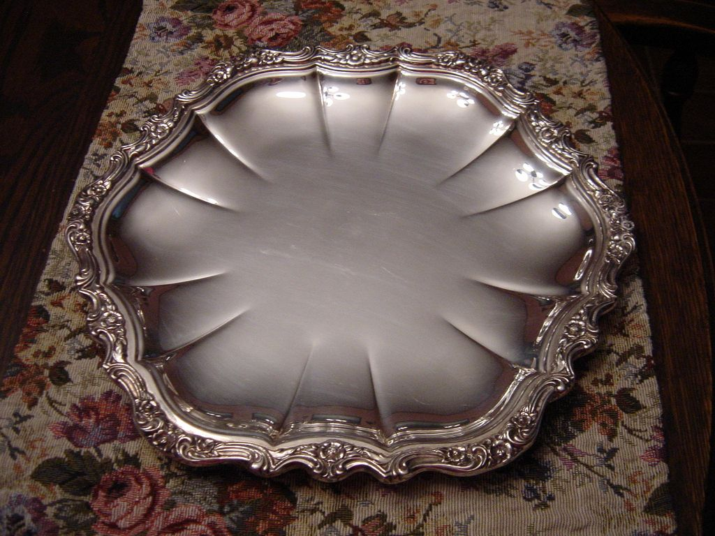 Beautiful Heavy Round Silver Platter with Floral Edge