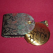 Beautiful Brass Melissa Compact with Birds and a Paisley Fabric Case