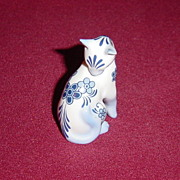 Franklin Mint Curio Cabinet Delft Cat
