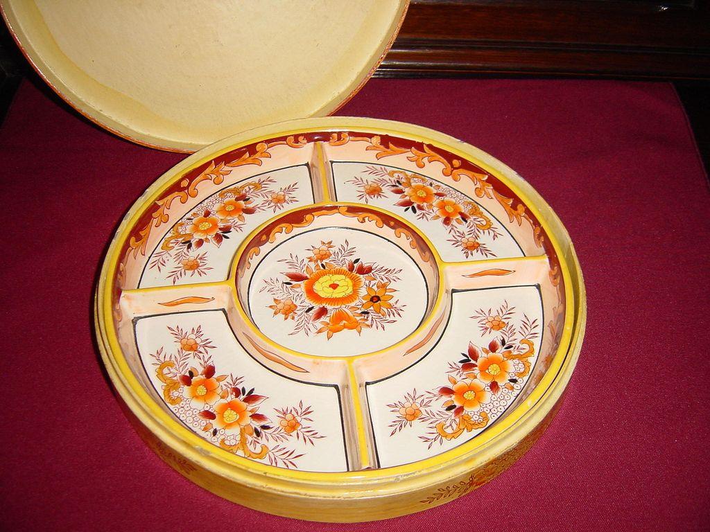 Japan Moriyama Mori-machi Five Section Ceramic Tray with Case
