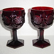 Avon Cape Cod Ruby Glass Footed Water Goblets