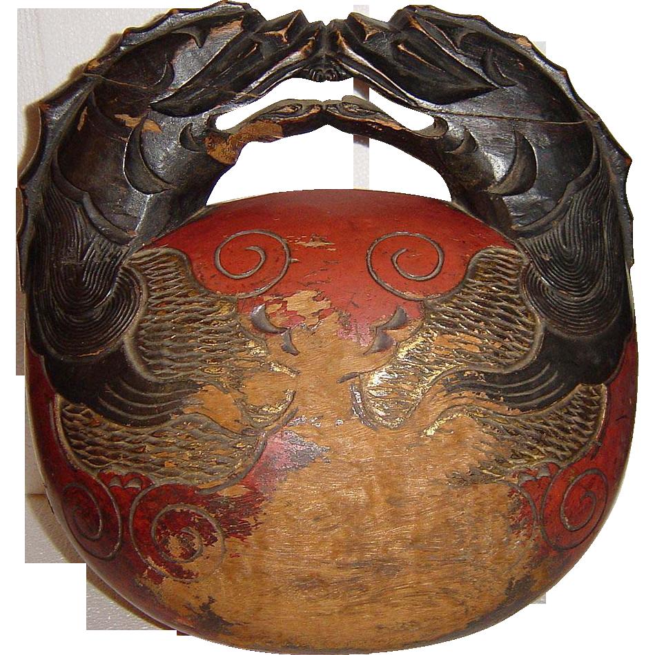 Antique Japanese Buddhist Wooden Mokugyo Temple Drum