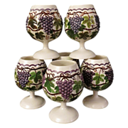 Grandma's Ceramic Grape Goblets Set of Six