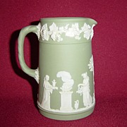 Wedgwood Green Jasperware Creamer Jug with Classical Scenes