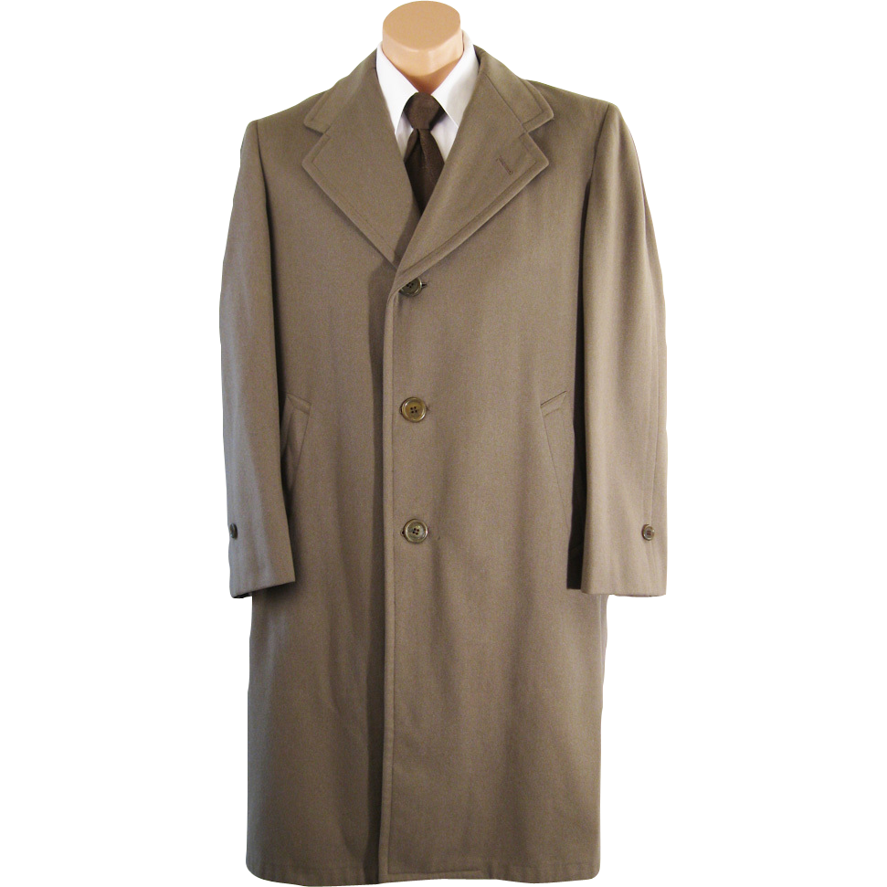 Vintage 1940s - 1950s Mens Overcoat Coat Taupe Wool Single Breasted by Richman Brothers C44