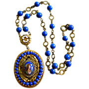 REDUCED PRICE REDUCED Exceptional Deco Czech Necklace Faux Blue Lapis, Brass, Enamel