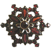 REDUCED Stunning 1890's Victorian Bohemian Garnet  Round Pin Brooch, Ornate Design