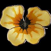 REDUCED David Andersen Norway PANSY Pin Brooch, Yellow Enamel + Sterling