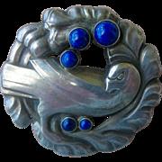 Georg Jensen Denmark Pin Style 165 Dove Sterling Silver with Bezel Set Lapis Gemstones